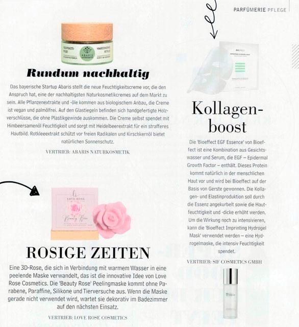 ABARIS Naturkosmetik - rundum nachhaltig - im Parfümerie Fachjournal der Beautybranche