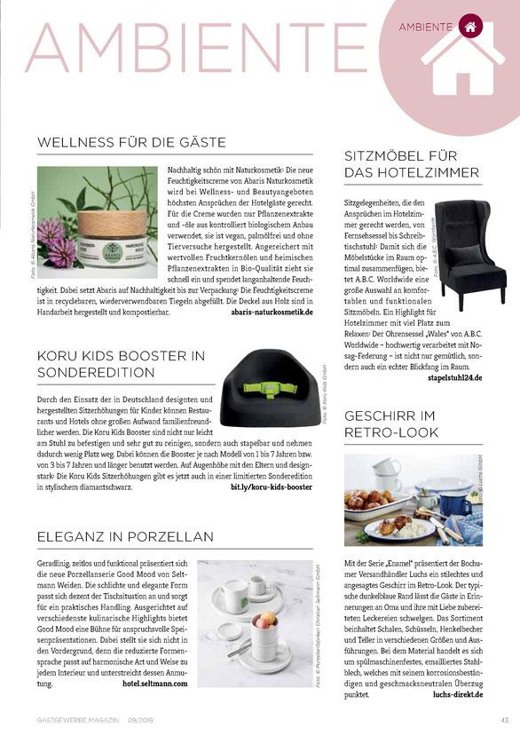 ABARIS Naturkosmetik - Wellness für die Gäste - im Gastgewerbe Magazin