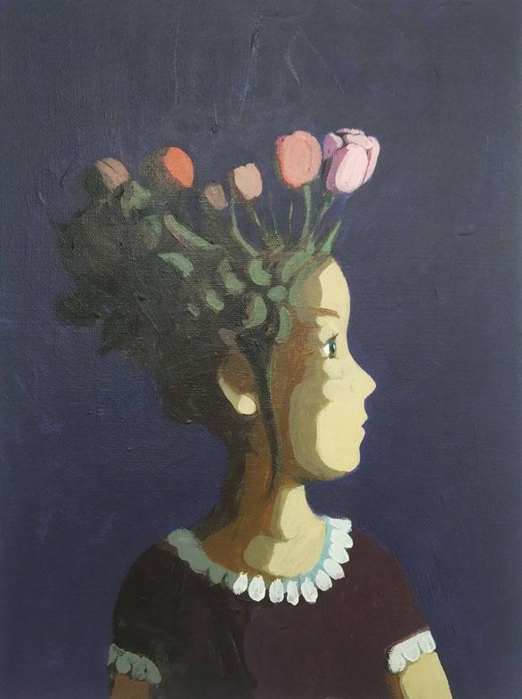 the tulip girl - ACryl auf Leinwand, 40x30cm, 2019 | verkauft