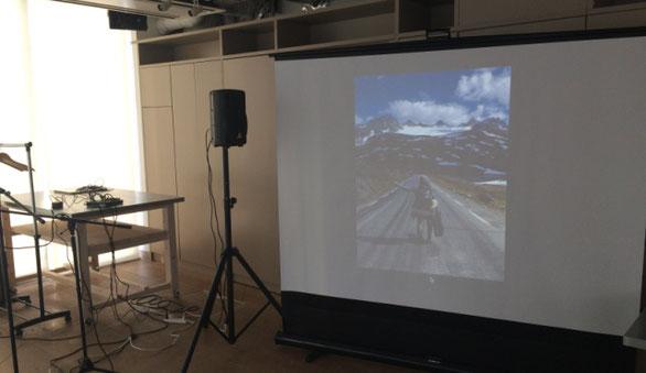 品川Oursで開催された「金丸 文武」ライブ会場のスクリーン