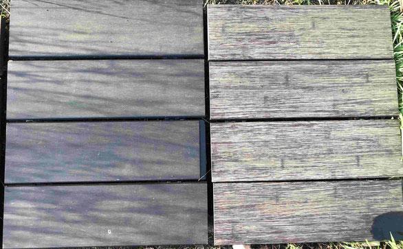 Drr Vergleich einer Bambus Terrassendiele mit und ohne HSC inside.