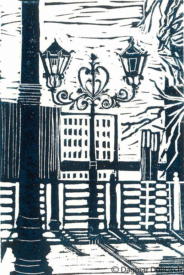 Druckgrafik, Titel: Strassenlaterne, Berlin, Technik: Linolschnitt, Format: 15cm x 20cm, Künstler: Dagmar Dölitzsch