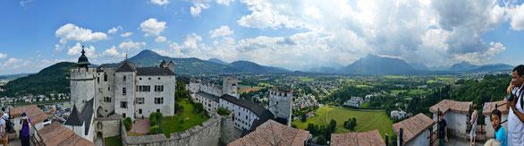 Freihand 180° Panorama, Burg Salzburg, Österreich