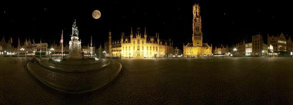 360° Panorama Marktplatz Brügge, Belgien, mit kleinen Ergänzungen