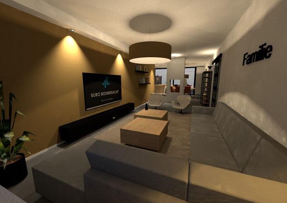 3D ontwerp interieur woonkamer