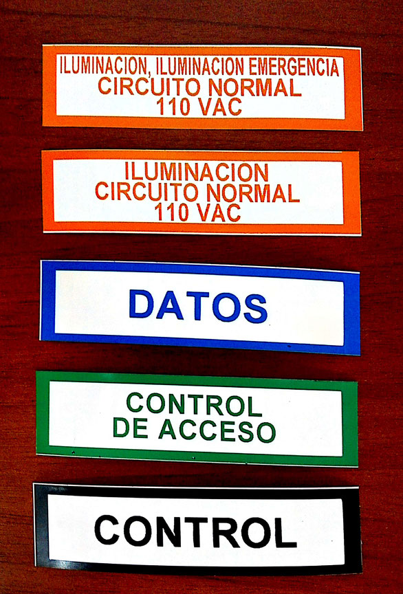 """Etiquetas en poliester blanco con colores del RETIE para tuberias de 3/4"""" de 25x100 mm"""