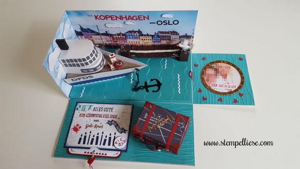 #Explosionsbox #Reisegutschein #Geldgeschenk #Minikreuzfahrt #Schiffsreise #Stampinup #stempellisese.com #DFDS #Kopenhagen #Oslo #AIDA