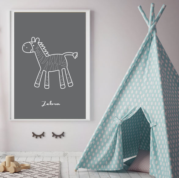 Grafik Poster | Illustrationen | Poster für Kinder | Tiermotive | Kinderzimmer