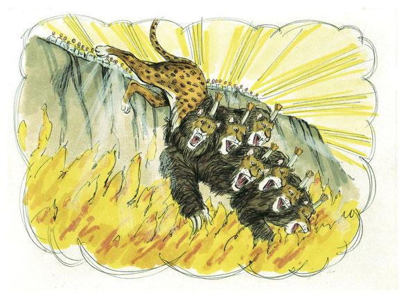 La bête fut capturée, ainsi que le prétendu prophète qui avait accompli devant elle des signes miraculeux pour égarer ceux qui avaient reçu la marque de la bête et adoré son image. Tous les deux furent jetés vivants dans l'étang ardent de feu et de soufre