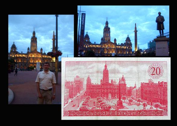 20 libras de Escocia desde George Square y edificio del Ayuntamiento -Glasgow
