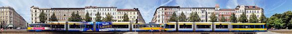 PANORAMA STREETLINE: Karl-Liebknecht-Straße Leipzig mit Straßenbahn