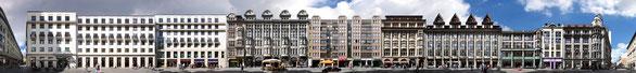 PANORAMA STREETLINE: Nikolaistraße in Leipzig mit Gebäuden der Pelzhändler