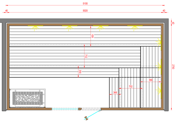 Knapp 5m lange Bänke bieten reichlich Platz