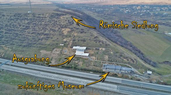 Luftbild von den Ausgrabungen am Grakliani Hill. Foto: S. Kokhreidze