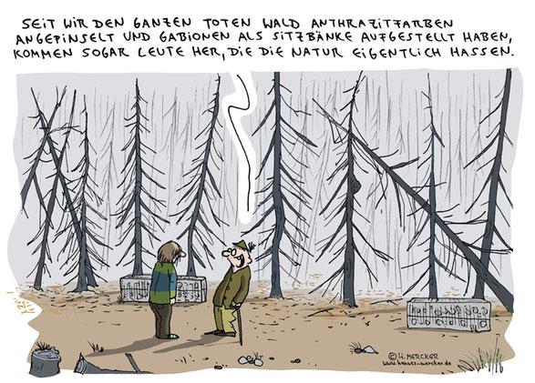 Cartoon von H. Mercker über Naturhasser