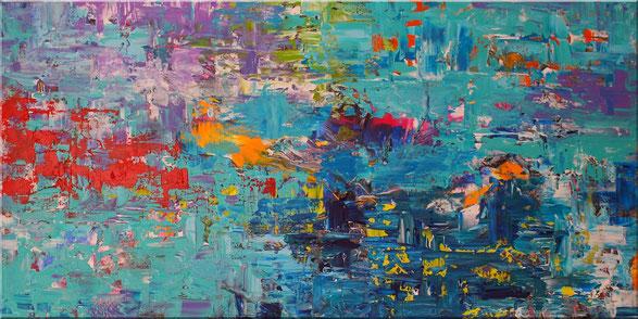 Abstraktes Acrylbild mit interessanten Farbaufträgen in Blau, Türkis, Orange, Gelb, Rot, Grün und anderen Akzenten und Strukturen.