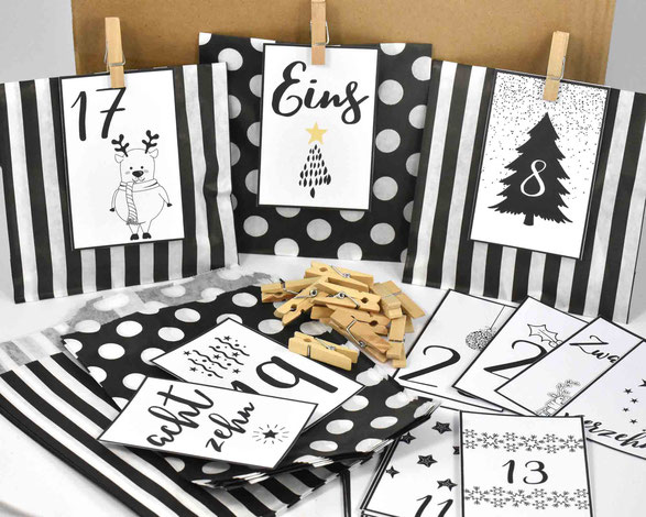 1 SET DIY Adventskalender besteht je aus: 24 Papiertüten Flach, hergestellt aus starkem 36g/m² Kraftpapier, Größe 12 cm x 18 cm,3 Bogen A4, 250 g weiß, mit Zahlen Druck zum Ausschneiden, 24 Mini-Holzklammern, Motiv 7
