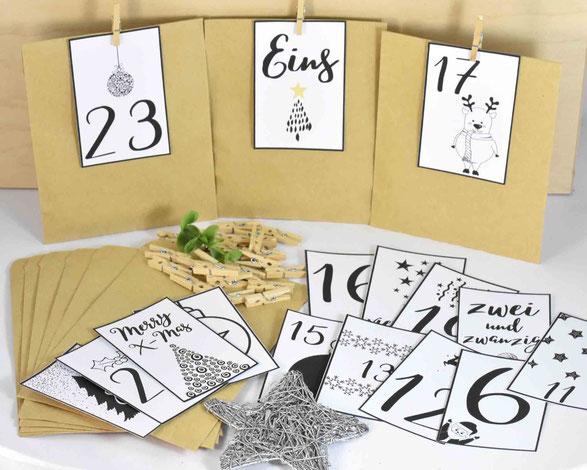 DIY Adventskalender -  1 SET besteht je aus: 24 Kraftpapier Tüten Flach, Größe 13 cm x 9 cm, 3 Bogen A4, 250 g weiß, mit Zahlen Druck zum Ausschneiden, 24 Mini-Holzklammern. Motiv 4