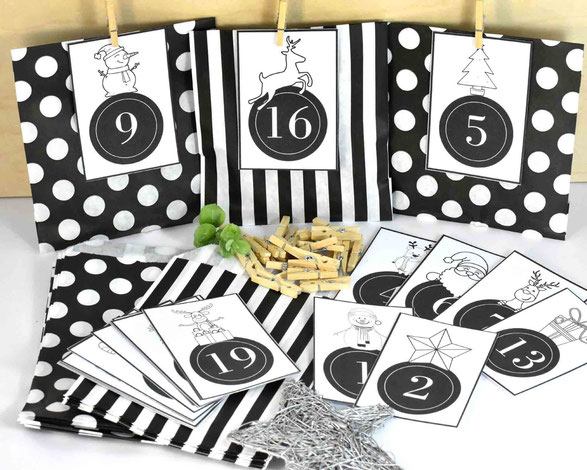 1 SET DIY Adventskalender besteht je aus: 24 Papiertüten Flach, hergestellt aus starkem 36g/m² Kraftpapier, Größe 12 cm x 18 cm,3 Bogen A4, 250 g weiß, mit Zahlen Druck zum Ausschneiden, 24 Mini-Holzklammern, Motiv 9