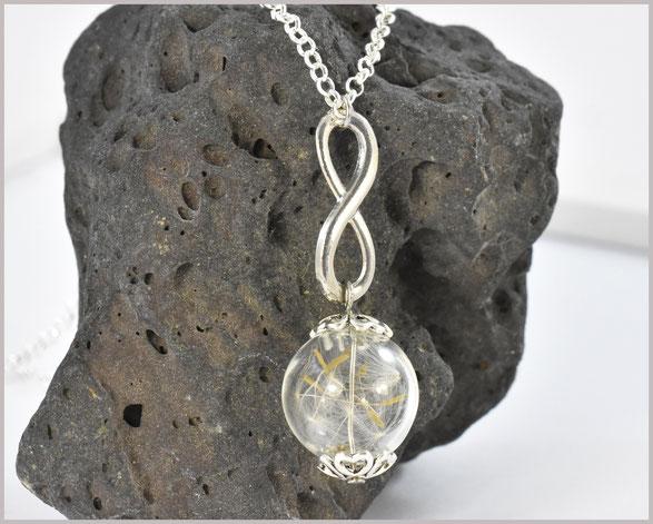 Pusteblumenkette mit Glasperle und echtem Samen sowie Anhänger Infinity