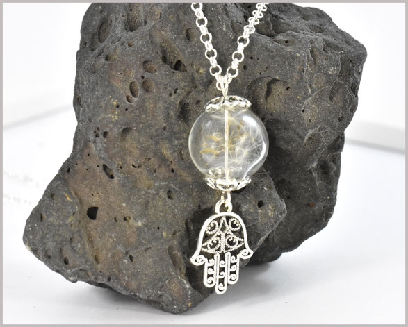 Pusteblumenkette mit Glasperle und echtem Samen sowie Anhänger Hamsa Hand