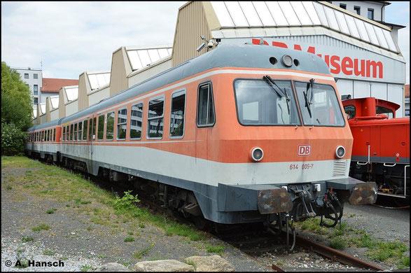 Mit 614 005-7 steht ein Vertreter dieser Baureihe im DB Museum Nürnberg. Das Foto entstand am 15. Juli 2015