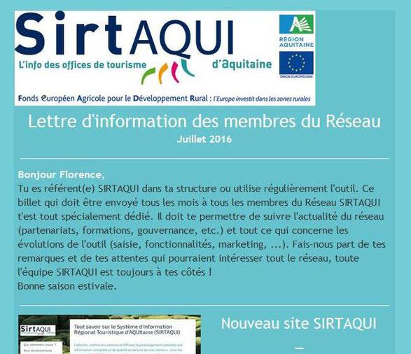Ce premier exemplaire a été envoyé le 2 août 2016 à toutes les structures membres du Réseau SIRTAQUI.