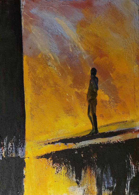protestvuur, acryl, 70 x 100 cm