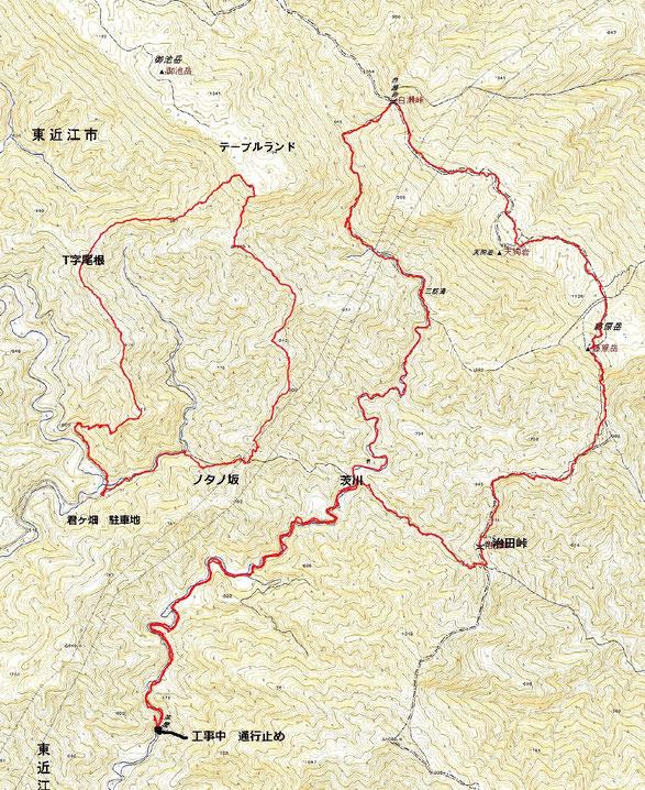 藤原岳・御池岳ルート図