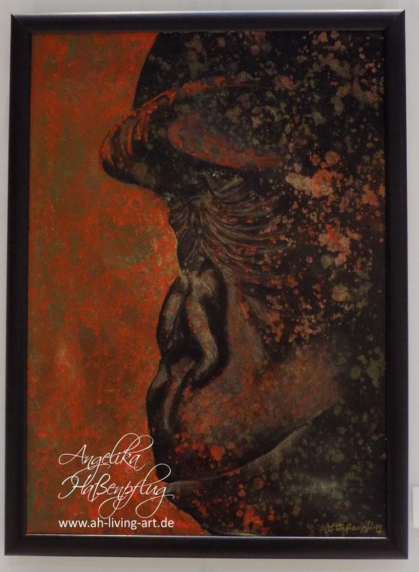 Gorilla abstrakt, moderne malerei, acryl, Angelika Haßenpflug, living art, portrait, porträt