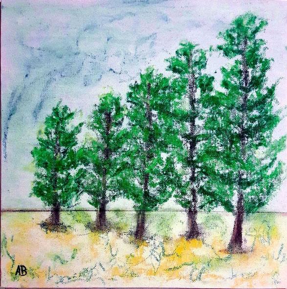 Bäume am Feld, Pastellgemälde, Landschaftsbild, Natur, Wald, Bäume, Feld, Gras, Himmel, Pastellmalerei, Pastellbild, Landschaft