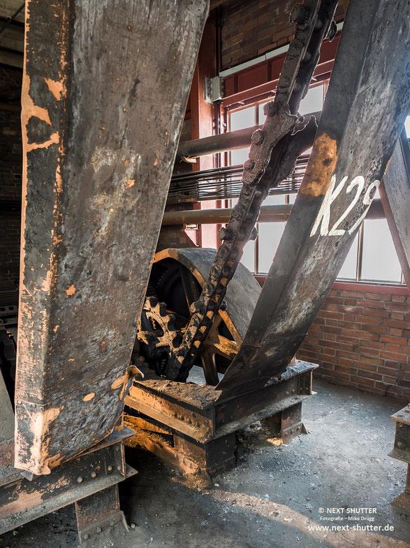 Kette der Anlage welche die Kohlewagen zur Entladestation zog.