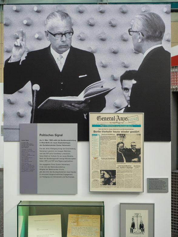 1969 wird Gustav Heinemann zum Bundespräsidenten gewählt. Die Wahl gilt als Wegweisung in eine sozial - liberale Koalition.