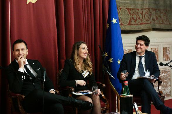 da sinistra Giammario Battaglia, al centro Francesca Tempesta ideatori del brand B&T lobbying & public affairs