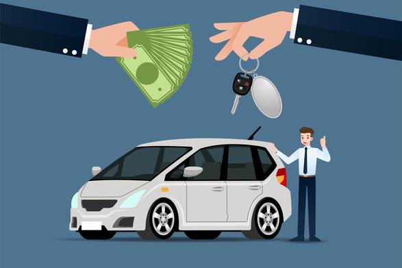 Graues Auto mit zwei Händen die Geld gegen Autoschlüsel austauschen