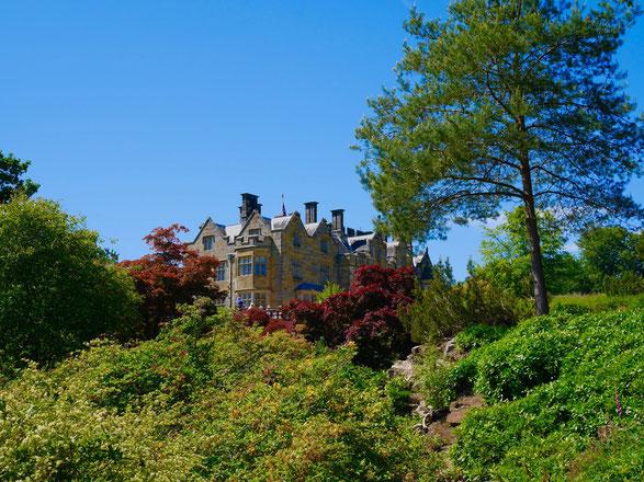 Scotney Castlein der Grafschaft Kent ist umgeben von Wald und Rhododendron