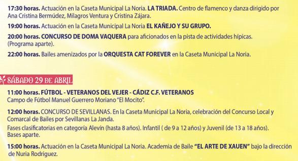 Programa de la Feria de Primavera en Vejer de la Frontera