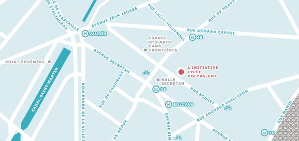 plan de ville, métro Jean Jaures, 24 rue bouret - 75019 Paris