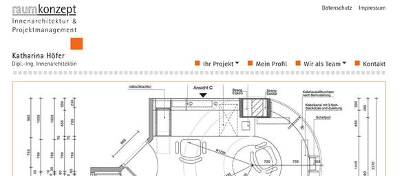 Webseitenausschnitt, Dipl.Ing. Innenarchitektin Katharina Höfer