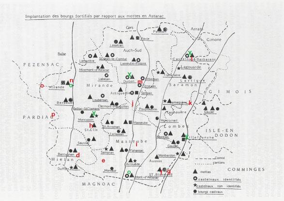 """Carte tirée de """"Généralités sur les peuplements anciens de l'Astarac"""" de René Caïrou"""