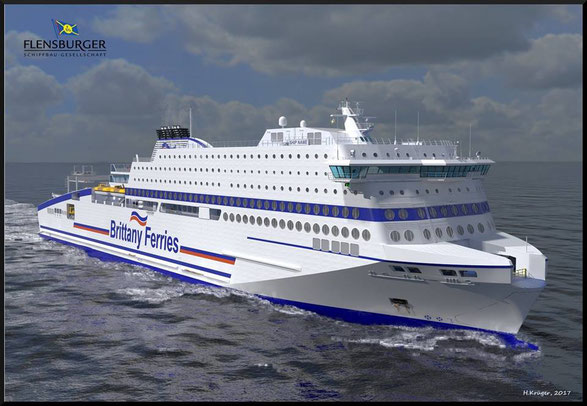 Artist impression of Brittany Ferries' new state-of-the-art cruise ferry, M/V Honfleur