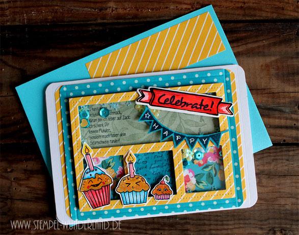 handgemachte Karte scrapbooking digi stamps happy birthday Geburstag Muffin Cupcake Stempel von www.stempel-wunderland.de