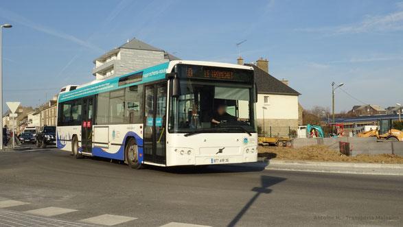 Volvo 7700 2 du réseau KSMA vu au nouveau rond-point des Talards en destination du Tronchet.