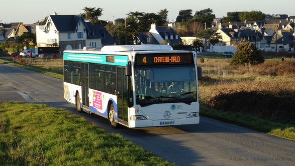 Mercedes O530 Citaro 1 N numéro 77 en service sur la ligne 4 du réseau KSMA de Saint-Malo Agglomération, ici vu après l'arrêt Davier.