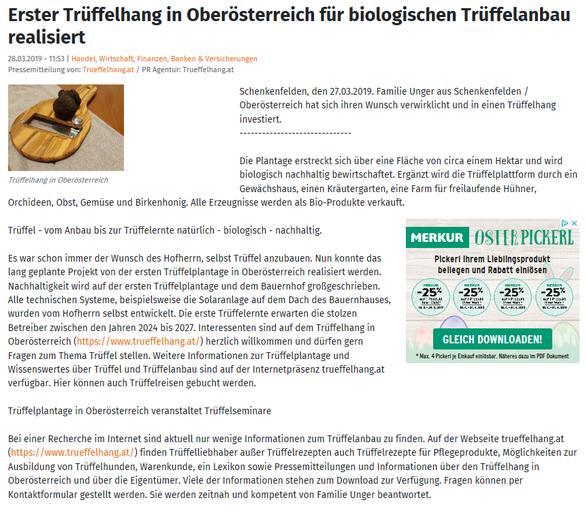 Trüffel - vom Anbau bis zur Trüffelernte natürlich - biologisch - nachhaltig.  Es war schon immer der Wunsch des Hofherrn, selbst Trüffel anzubauen. Nun konnte das lang geplante Projekt von der ersten Trüffelplantage in Oberösterreich realisiert werden. N