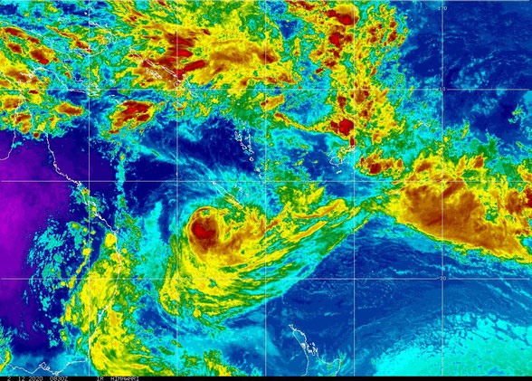 Colourised satellite image of Tropical Cyclone Uesi, 12/02/2020. Images from NOAA