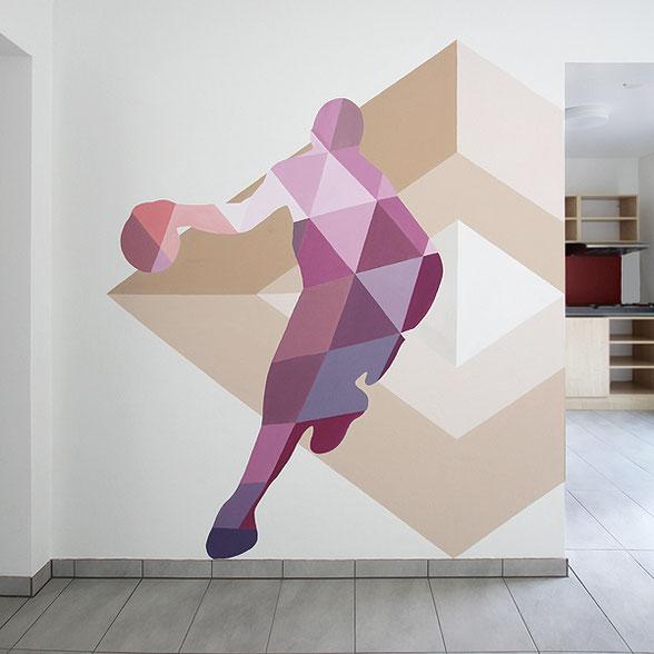 Farbgestaltung/Wandmalerei im Innenbereich. Farbe im Gemeinschaftsraum in der Nieder-Ramstädter-Straße