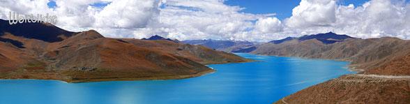 TIB05 - Tibet, Yamdrok See (gehört zu den 3 heiligen Seen Tibets), vom Kambala-Pass aus gesehen