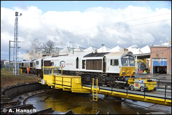 077 015-1 ist am 12. Februar 2019 im Werk Cottbus zu sehen