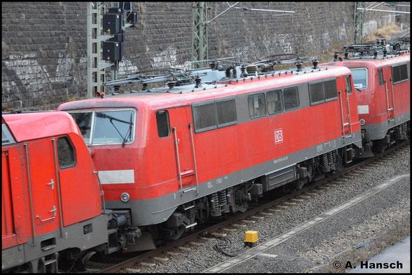111 042-8 wird am 7. März 2020 in einem Lokzug von Nürnberg zur z-Stellung nach Leipzig-Engelsdorf gefahren. In Chemnitz Hbf. konnte ein Bild der Lok angefertigt werden